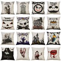 Halloween Terror Printed Linen Pillow Cover Sofa Cushion Case Throw Home Decor