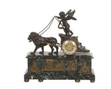 Antique French Bronze Chariot Mantel Clock Directoire/ Empire Period
