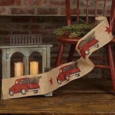 "RED PICKUP TRUCK Burlap Christmas Ribbon, 4"" by 10 Feet, by Country House"