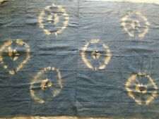 """Authentic African Handwoven Circled Blue Tye dye Mud Cloth Fabric 59"""" by 42"""""""