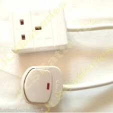 10 METRE 3 CORE 13 AMP WHITE ELECTRICAL MAINS EXTENSION CABLE WITH SWITCHED PLUG