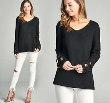 Womens Long Sleeve Sweater V Neck Oversized Pullover Chunky Knit Black S M L