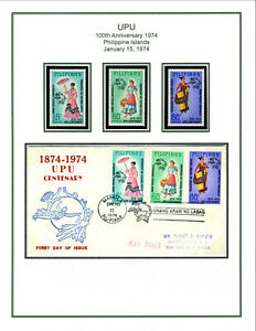 Philippines UPU Centenary, album page of Scott 1226-28 including First Day Cover