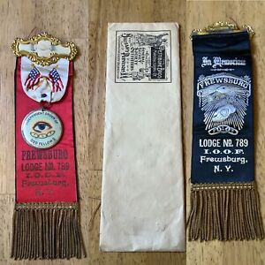 VTG 1900' Odd Fellows Lodge Ribbon w/Original Package .Lodge789.Frewsburg,NY