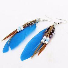 BLUE FEATHER BEADS DANGLE DROP EARRINGS Jewellery Gift Idea Festival Boho Hippie