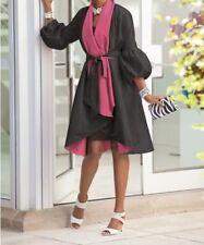 Women's Winter Spring Fall Black Reversible jacket coat trench plus L XL2X3X new