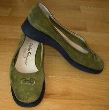 Salvatore Ferragamo Boutique Walking Shoes Low Wedge Flats sz 6.5 B ~ ITALY