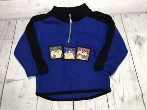 vintage looney tunes sweater toddler 3t 2t 90s taz zip up pullover vtg