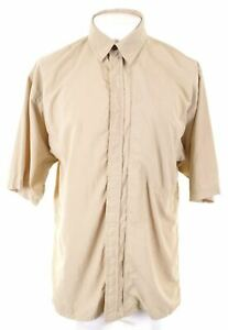 ADIDAS Mens Shirt Short Sleeve Large Khaki Nylon IK09