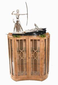 Art Deco Display Cabinet Vintage Satinwood 1920 Furniture