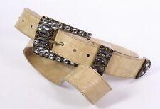 G359 Holly Golightly Gürtel Leder beige Krokolook 95 cm Schmuckschnalle Straß