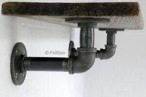Industrial shelving shelf brackets urban vintage pipe pipework (Pair) by Fe20six