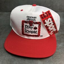 "NWT Vintage 90's NBA Chicago Bulls Hat ""Stay In School"" Red White Basketball"
