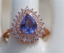 Tanzanite 1.30ct,Rose Gold Ring,Pear,VVS/IF,Merelani,Natural,Brand New