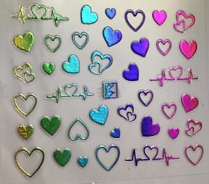 Nail Art 3D Decal Stickers Multicolored Metallic Hearts Heartbeat Line
