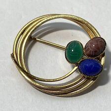 Vintage Signed A&Z 12k Gf Gold Fill Circle Pin Carved Scarab Gemstone