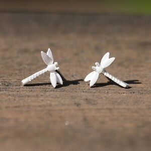 Tiny Dragonfly Earrings 925 Sterling Silver , Small Stud Earrings