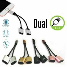 Dual Adapter For Apple iPhone XS XR X 7 8 + Splitter Audio Earphone AUX Charger