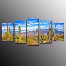 Framed Cactus Overcast Landscape Plant Mountain Desert Canvas Print Wall Art 5pc