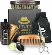 Beard Brush and Comb Set for Men Grooming & Trimming Kit Contains Oil Butter