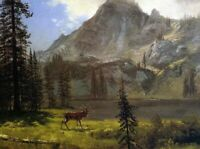 Albert Bierstadt Call of the Wild Fine Art Print on Canvas Giclee Painting Small