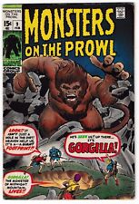 MONSTERS ON THE PROWL #9 (FN-) GORGILLA! 1971 Stan Lee! Jack Kirby! Barry Smith!