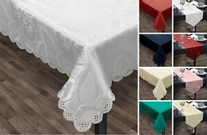Rose Jacquard Table Linen Scallop Edged Floral Table Cloth Runner Napkins Mat