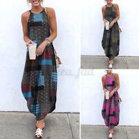Women Strappy Beach Dress Printed Summer Long Maxi Dress Casual Party Slip Dress