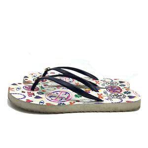 Tory Burch Women's Multicolor Thin Flip-flop Thong Sandals Blue Stripe Size 7M