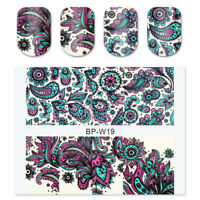 2Sheets BORN PRETTY Nail Art Water Decals Transfer Stickers Blooming Flower Tips