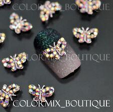 10pcs 3D Nail Art D'eco Butterfly Alloy Jewelry Glitter Rhinestone #CA003