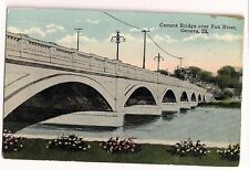 Cement Bridge over Fox River Geneva Il ILL Illinois Postcard