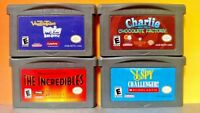 Nintendo Game Boy Advance GBA Lot Disney Incredibles Veggie Tales Charlie I Spy
