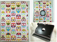"COVER CASE TABLET BQ EDISON 3 QUAD CORE 10,1"" SWIVEL DRAWING OWLS"