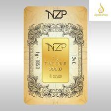 Fine Gold Bullion Bar 1g 24k 995 Nzp *Special Dimension
