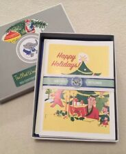 New Xmas Holiday Laughing Elephant Box of 8 Cards / 4 Retro Designs