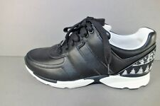 CHANEL 36/5.5 Black White Tweed Leather Lace Up Sneakers Tennis Shoes Sport New