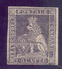 19/2.ITALY.TUSCANY,1852 # 1 1 QUATRINI MH,POSSIBLY REGUMMED,VERY RARE,LION