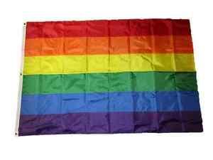 5x8 Embroidered Gay Pride Rainbow Stripes 210D Nylon Flag 5'x8' w/ Clip