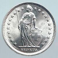 1965 SWITZERLAND - HELVETIA Symbolizes SWISS Nation SILVER 2 Francs Coin i89950