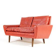 Retro Vintage Danish Teak & Leather Love Seat 2 Seater Sofa 70s Mogensen 50s 60s
