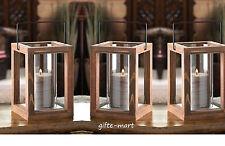 5 brown wood hurricane pillar Candle holder Lantern wedding table decoration