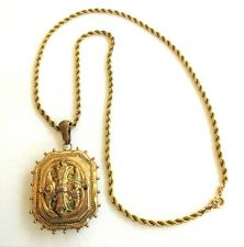 """Victorian Locket Necklace Maltese Cross 1 3/4"""" X 1 5/8"""" W GOLD FILLED Chain"""