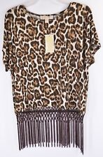 Michael Kors Top M Chocolate Leopard Print Short Sleeve Fringed Blouse NEW 5127