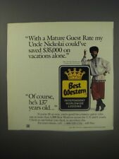 1990 Best Western Motel Ad - Yakov Smirnoff - With a mature guest rate