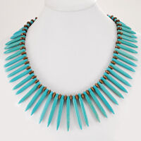 """Large Magnesite Turquoise Branch/Wood Beads Necklace w/Silver Tone Toggle 18.5""""*"""