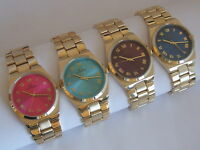 NY London Unisex Handsome Roman Numeral Neon Face Gold Tone Metal Strap Watch
