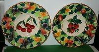 2 Italian Hand Painted Ceramic Art Pottery Colorful Fruit Plate Shallow Bowl