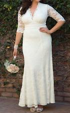 KIYONNA Ivory Amour Lace Wedding Formal Gown Dress 2X 18/20 BRIDAL BRIDE