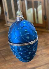 """Blown Glass Blue Hinged Egg  Locket ornament One (1) Glitter & jewels, 4"""" tall"""